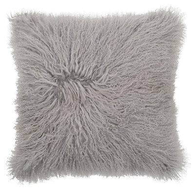 Real Tibetan Fur Mongolian Lambskin Sheepskin Cushion - Light Grey