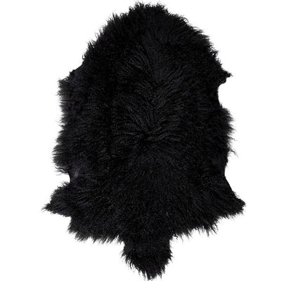 Real Tibetan Fur Mongolian Lambskin Sheepskin Throw Rug Black