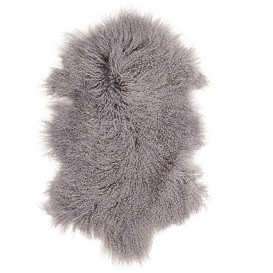 Mongolian Sheepskin & Cushion Gift Set Bundle - Light Grey