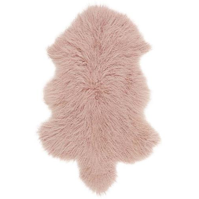 Real Tibetan Fur Mongolian Lambskin Sheepskin & Cushion Gift Set - Rose Blush