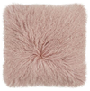 Real Tibetan Fur Mongolian Lambskin Sheepskin Cushion - Rose Blush
