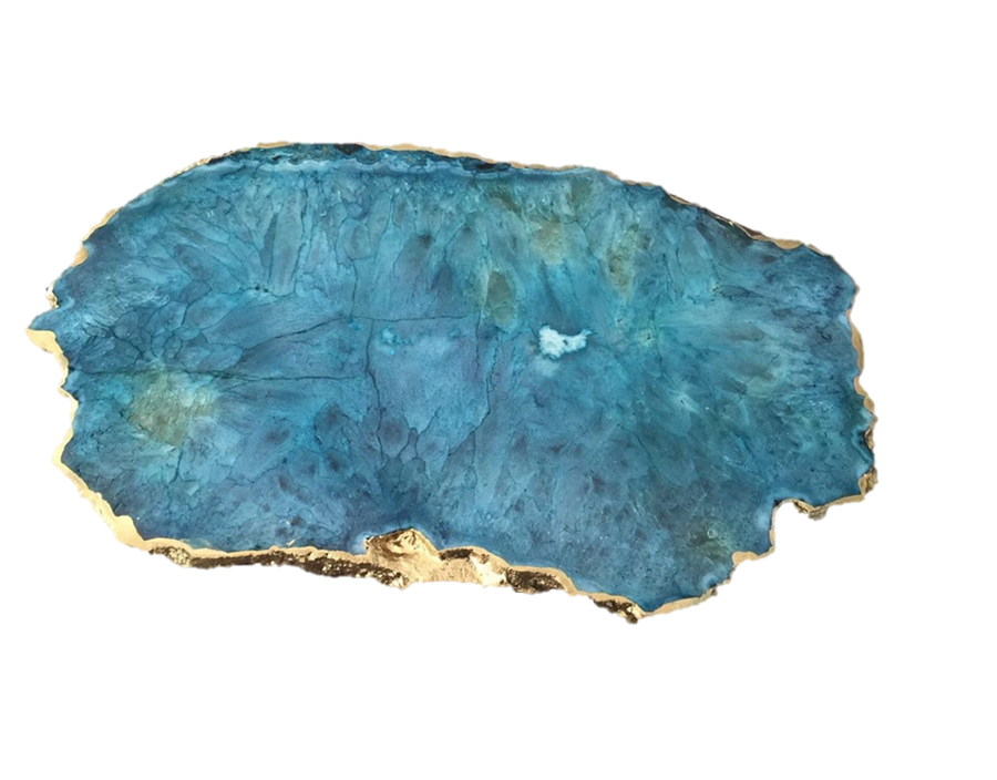 Teal Agate Slab Platter Gold Trim