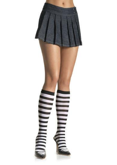 Black and White Striped Knee High