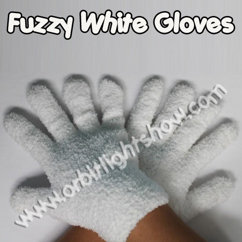 Fuzzy White Gloves