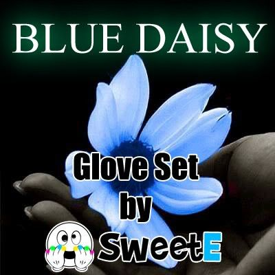 Blue Daisy Glove Set