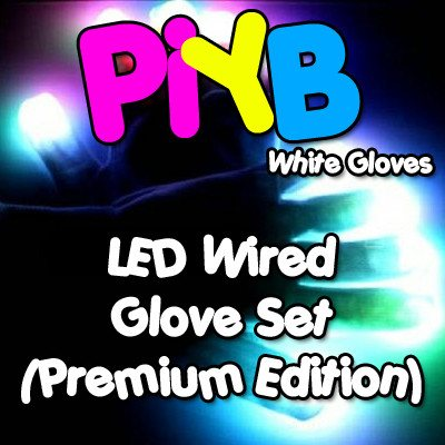 PiYB Premium LED Wired Glove Set (White Gloves)