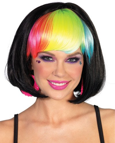 Black Pop Wig Rainbow