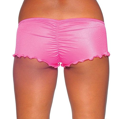 Scrunch Back Micro Shorts - Neon Pink