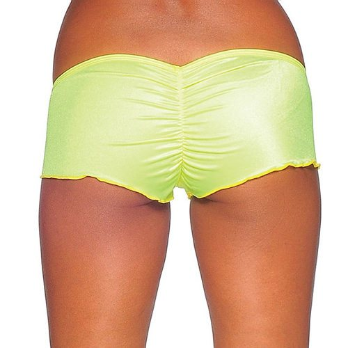 Scrunch Back Micro Shorts - Neon Yellow