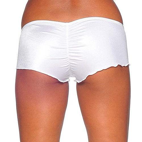 Scrunch Back Micro Shorts - White