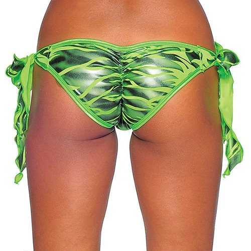 Tie Side Scrunch -  Neon Green Zebra