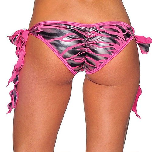 Tie Side Scrunch -  Neon Pink Zebra