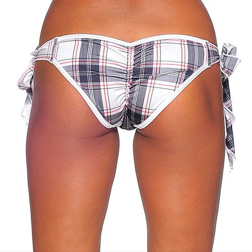 Tie Side Scrunch - White Plaid