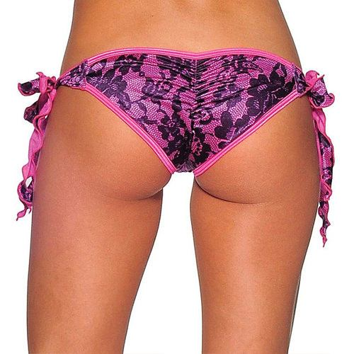 Tie Side Scrunch - Neon Pink Lace Print