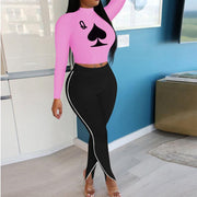 Heysweeta Crop Tops Long Sleeves Top and Split Women Pants Two Pieces Outifts