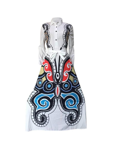 Vintage Print Women Maxi Shirt Dress