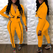 Heysweeta V-neck Crop Tops and Sweat Pants Two Pieces Women Outfit