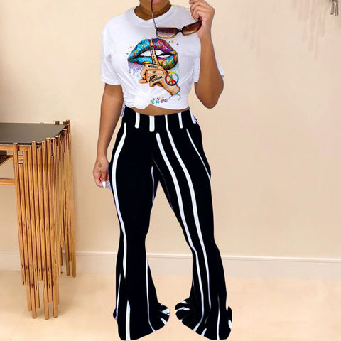 Heysweeta Women T-shirt White T-shirt and Stripped Pants Two Pieces Outfit