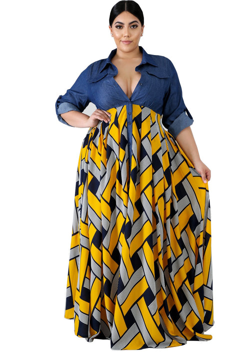 Heysweeta Plus size Women Dress Plus Size Maxi Dress Denim Dress