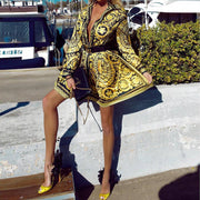 Golden Print Shirt Dress