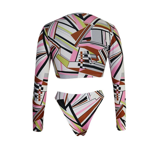 Print Long Sleeves Swimwear