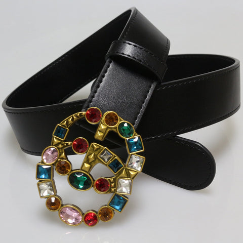 Heysweeta Multicolor Artificial Diamonds Decorated Buckle Women Black Belt (Limited sale ended.)