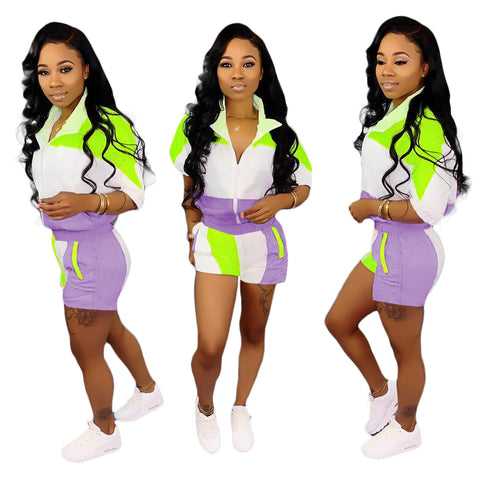 Heysweeta Two Pieces Women Sweatsuit Women Summer Sweatsuit