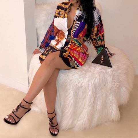 Fashion Print Long Shirt Dress