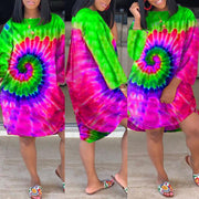 Heysweeta Multicolor Printing Women Long T-shirt Mini Dress