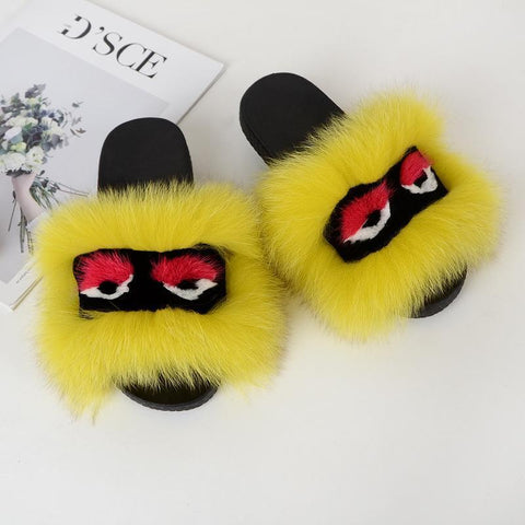 Heysweeta Artificial Fox Fur Little Monster Women Slippers