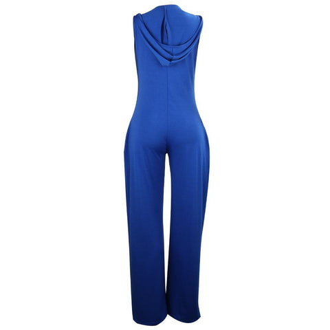 Heysweeta Hooded Sleeveless Causal Jumpsuit