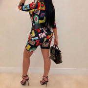Multicolor Print Short Suit(Without Belt)