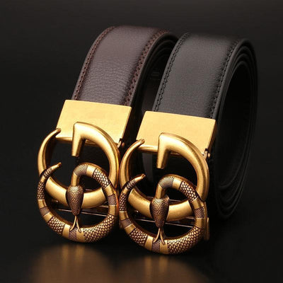 Heysweeta Metal Letters Buckle Snake Buckle Black Belt Women Belt (Limited sale ended.)