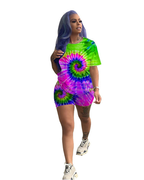 Heysweeta Multicolor Printing Women T-shirt and Shorts Set