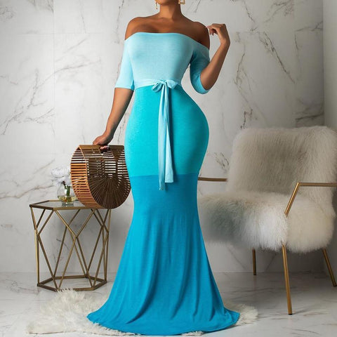 Off the Shoulder Color Patchwork Maxi Dress