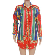 Red Print Women Shirt Dress
