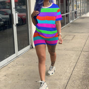 Multicolor Striped T-shirt and Shorts Set