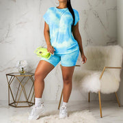 Multicolor Cloud Print T-shirt and Shorts Set