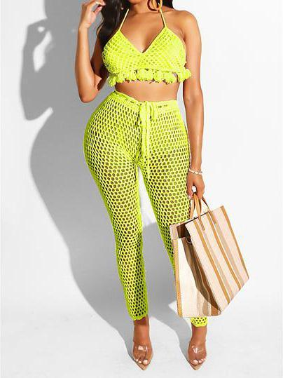 Summer Mesh Chest Wrap and Pants Set for Vacation