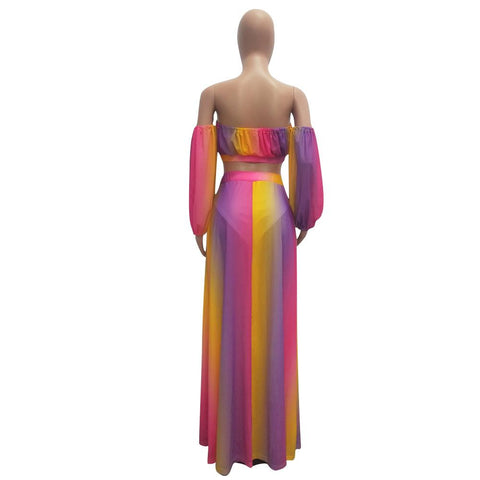 Heysweeta Multicolor Chest Wrap and Sleeves and Skirt Three Pieces Dress