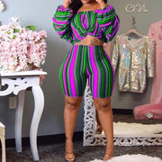 Heysweeta Multicolor Striped Crop Tops and Shorts Set