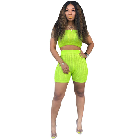 Heysweeta Women Chest Wrap and Shorts Two Pieces Outfit Shorts Set Outfit