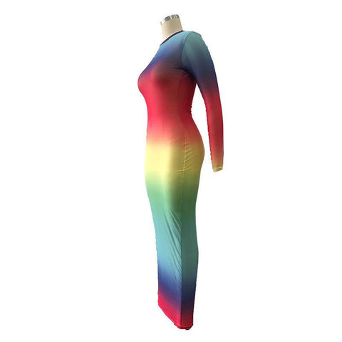Heysweeta Multicolor Striped See-through Dress