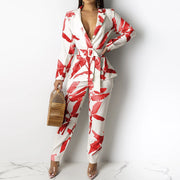 Heysweeta Print Women Jacket and Pants Set