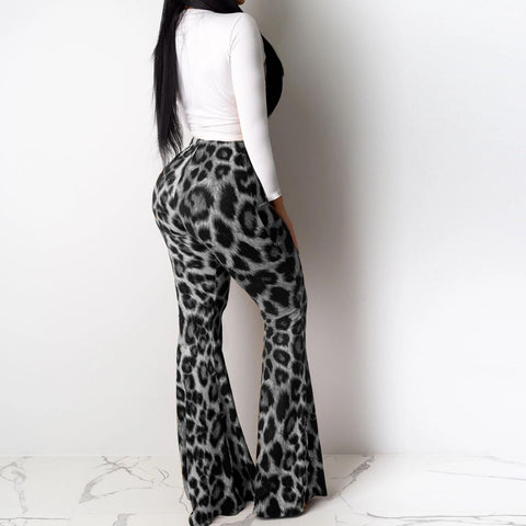 Heysweeta Leopard Print T-shirt and Flare Pants Set