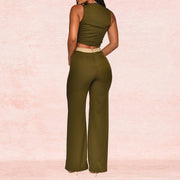 Heysweeta Patchwork Women Crop Tops and Wide Leg Pants Set