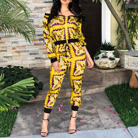 Heysweeta Slash Neck Women Crop Tops and Pants Set