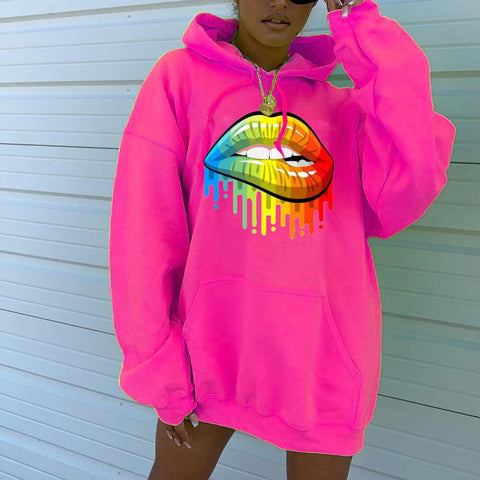 Heysweeta Multicolor Lips Print Fashion Hoodie