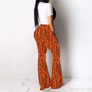 Heysweeta Women T-shirt and Cheetah Print Flare Pants Outfit
