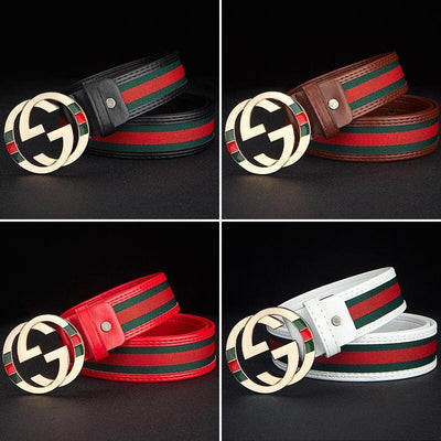 Heysweeta Unisex PU Belt Red and Green Cloth PU Belt (Limited sale ended.)